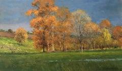 Sunlight Against the Storm, Autumnal Impressionist Landscape Oil Painting