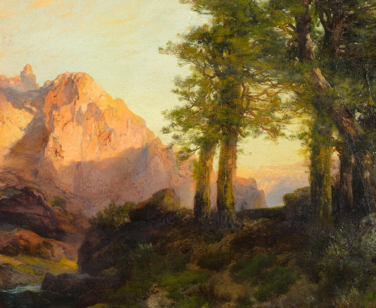 The Great White Throne, Zion - Black Landscape Painting by Thomas Moran