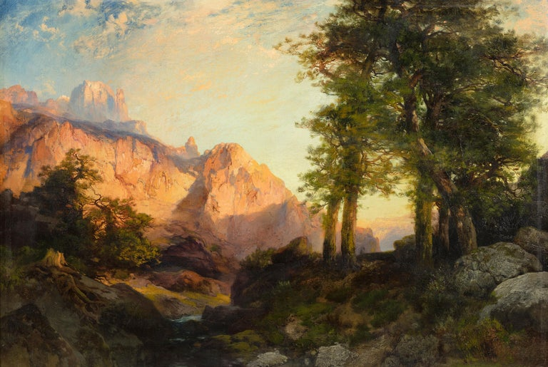 Thomas Moran Landscape Painting - The Great White Throne, Zion