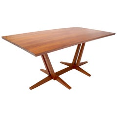 Thomas Moser Trestle Base Studio Made Thick Solid Cherry Top Dining Table