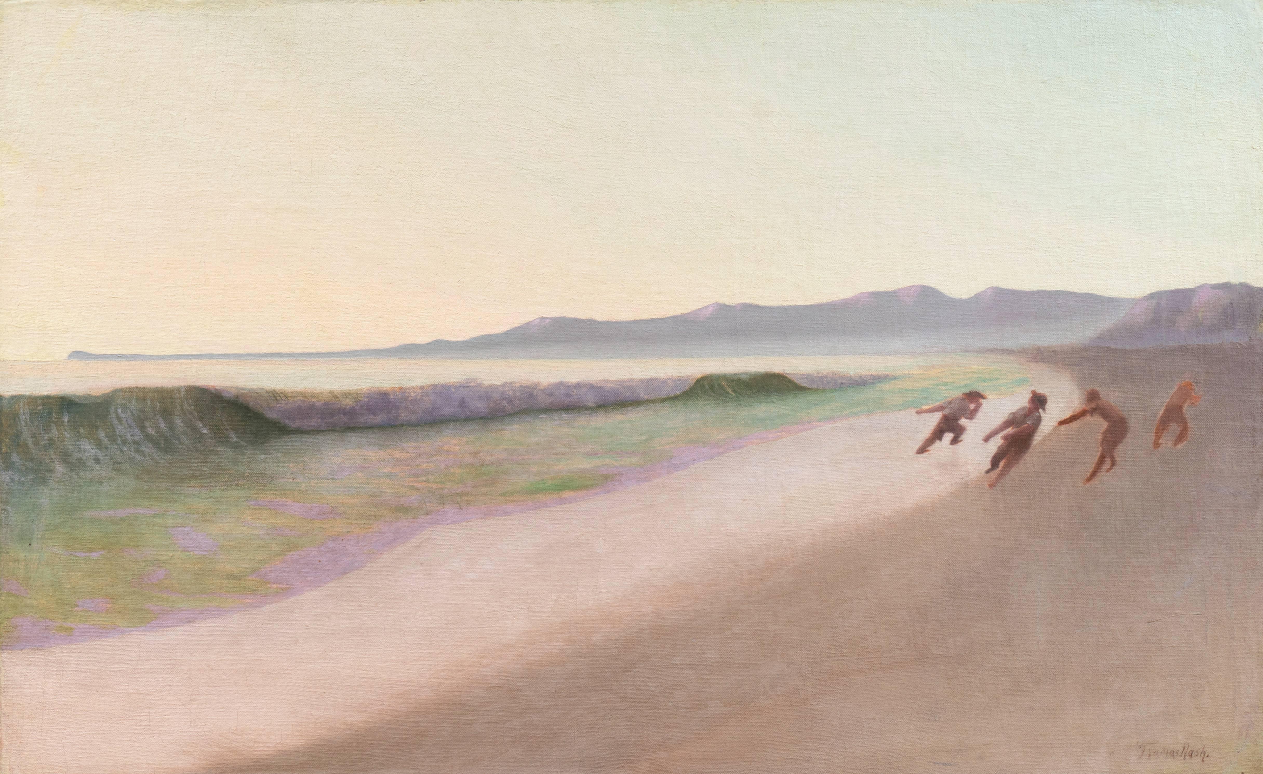 'Fishermen on Hermosa Beach' Large & Early Los Angeles California Modernist Oil