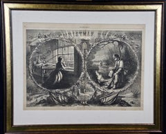 "Ciivil War ""Christmas Eve"" 1862, Thomas Nast Harper's Weekly Woodcut Engraving"