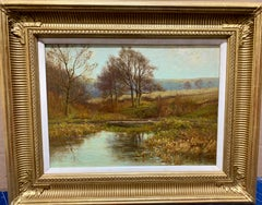 Victorian English 19th century Autumn/Fall River landscape, with trees and hills
