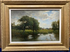 Victorian English 19th century Summer River landscape with Swans during harvest