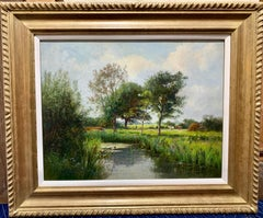 Victorian English 19th century Summer River with horses in a  landscape