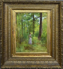 Antique American Impressionist Forest Interior with Woman Portrait Rare Painting