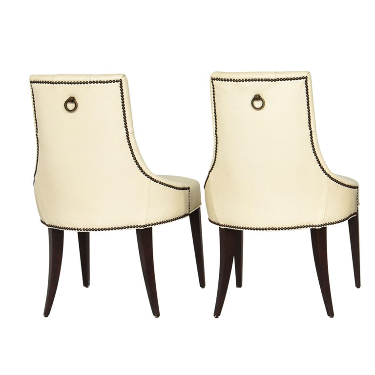 American Thomas Pheasant for Baker Furniture Company Tufted Cream Ritz Dining, Side Chair For Sale
