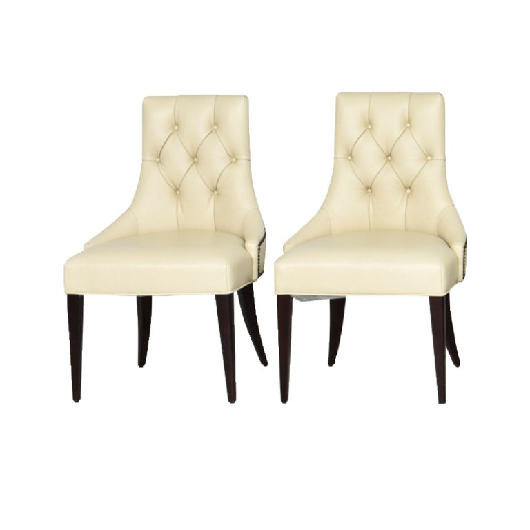 Thomas Pheasant for Baker Furniture Company Tufted Cream Ritz Dining, Side Chair In Good Condition For Sale In Brooklyn, NY