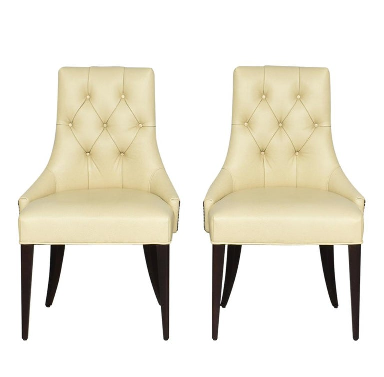 20th Century Thomas Pheasant for Baker Furniture Company Tufted Cream Ritz Dining, Side Chair For Sale