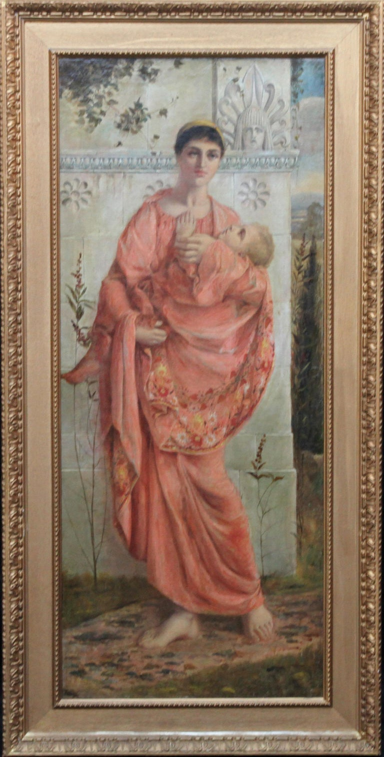 Classical Mother and Child - British art 19thC Pre Raphaelite oil painting For Sale 5