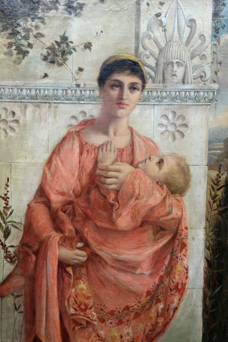 Painted in 1878 by Thomas Ralph Spence this large oil on canvas is a Romantic idealised Pre Raphaelite view of a classical mother and child. A super painting by an artist of the Victorian pre-Raphaelite period. Great composition and colouring make