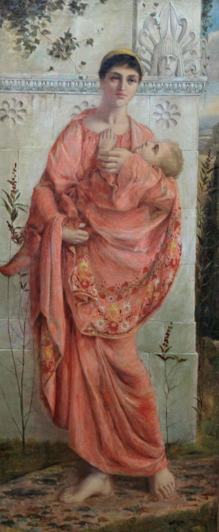 Classical Mother and Child - British art 19thC Pre Raphaelite oil painting For Sale 4