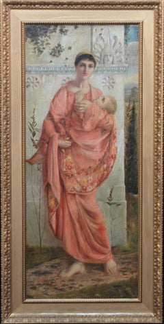 Classical Mother and Child - British art 19thC Pre Raphaelite oil painting
