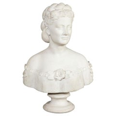 Thomas Ridgeway Gould, a Rare American White Marble Bust of a Woman