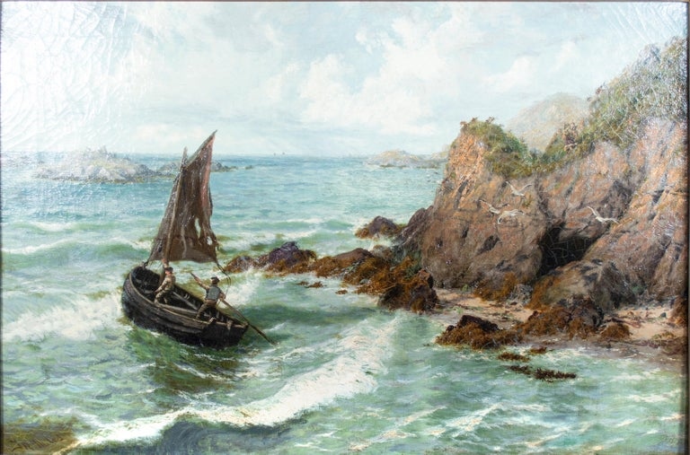 'Clew Bay Connemara' original oil painting, seascape with sailboat, waves, gulls - Painting by Thomas Rose Miles