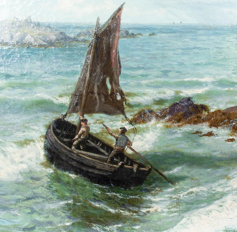 The present work is a quintessential example of the seascapes and landscapes of Thomas Rose Miles. 'Clew Bay, Connemara' shows small human figures struggling against the might of nature: To the left, two figures raise a tattered sail on a small