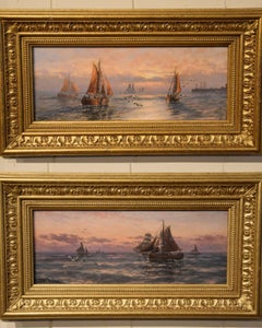 """Oil Painting Pair by Thomas Rose Miles """"Morning and Evening off the East Coast"""""""