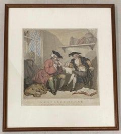 """Edward Williams """"A College Scene"""" After Thomas Rowlandson Color Engraving C.1787"""
