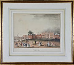 """Thomas Rowlandson Hand-colored Engraving """"Queen's Palace, St. James Park"""""""