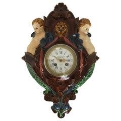 Thomas Sargent Palissy Ware Majolica Wall Clock circa 1870 Japy Freres Movement
