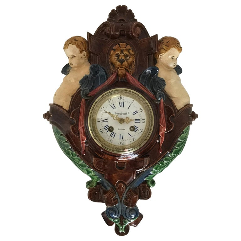 Thomas Sargent Palissy Ware Majolica Wall Clock circa 1870 Japy Freres Movement For Sale
