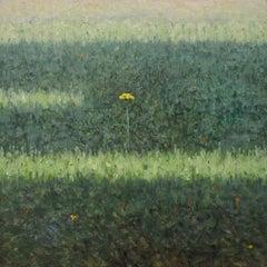 Field Painting July 22 2020, Botanical Landscape, Yellow Flower in Green Field