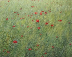 Poppies, Botanical Landscape Painting, Green Field, Red Poppy Flowers