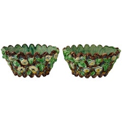 Thomas Sergent French Palissy Majolica Floral Jardinières or Cachepots, a Pair