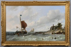 19th Century seascape oil painting of ships off the Dutch coast