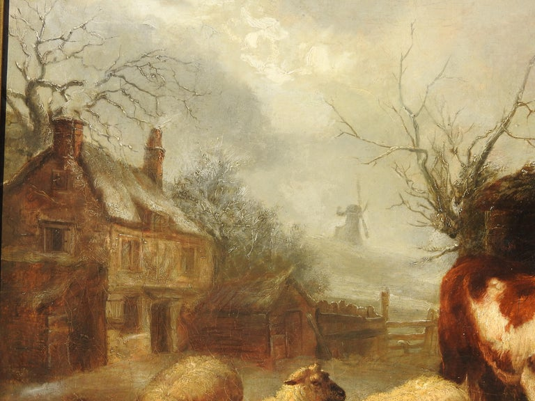 A beautiful landscape of an old home with sleepy cattle and sheep in the back yard on a foggy day. Thomas Sidney Cooper was one of the foremost animal painters of the Victorian period. He was greatly encouraged by Abraham Cooper (of no relation) and