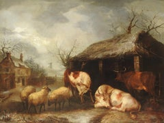 """Cattle and Sheep"", Thomas Sidney Cooper, Oil on Canvas, Original Antique"