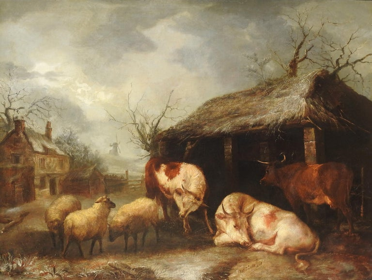 "Thomas Sidney Cooper RA Landscape Painting - ""Cattle and Sheep"", Thomas Sidney Cooper, Oil on Canvas, Original Antique"