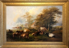 Thomas Sidney Cooper Cows in Autumn landscape RA Exh (1900)