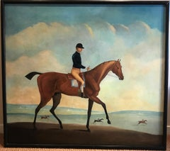 18th Century Oil Painting of Race Horse Jockey up on Newmarket Heath