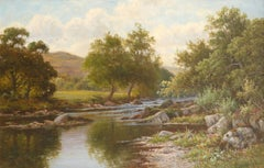Large Edwardian Oil Painting on Panel Tranquil River Landscape Welsh River