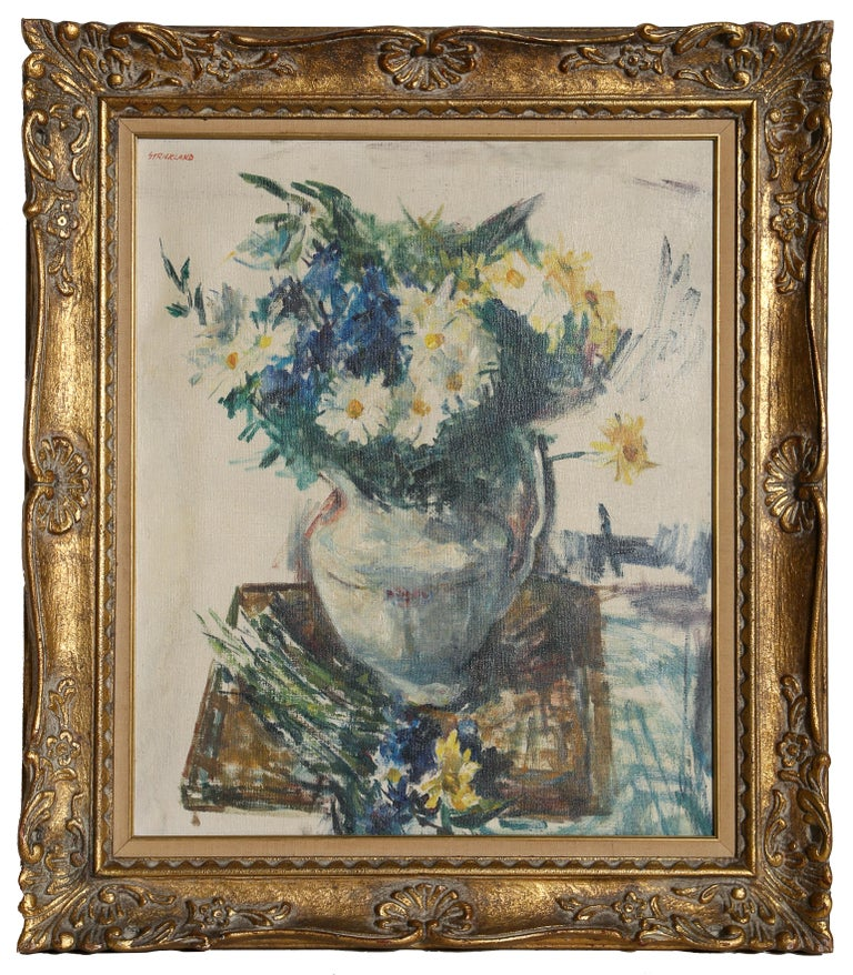 Artist: Thomas Strickland, American (1923 - 1999) Title: Flower Still Life Year: circa 1960 Medium: Oil on Canvas, signed u.l. Size: 20 x 24 inches Frame: 31 x 27.5 inches