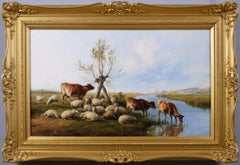 19th Century landscape animal oil painting of cattle & sheep by a river