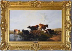 19th Century landscape oil painting of cattle resting
