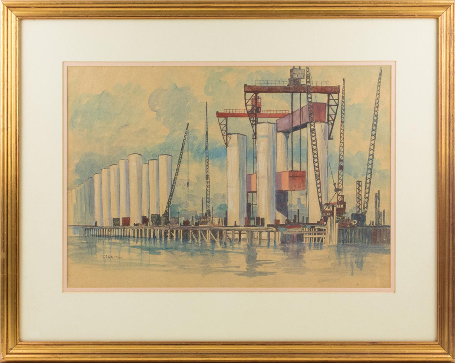 Industrial Bridge Construction Seascape Pastel Painting by Thomas S. Halliday