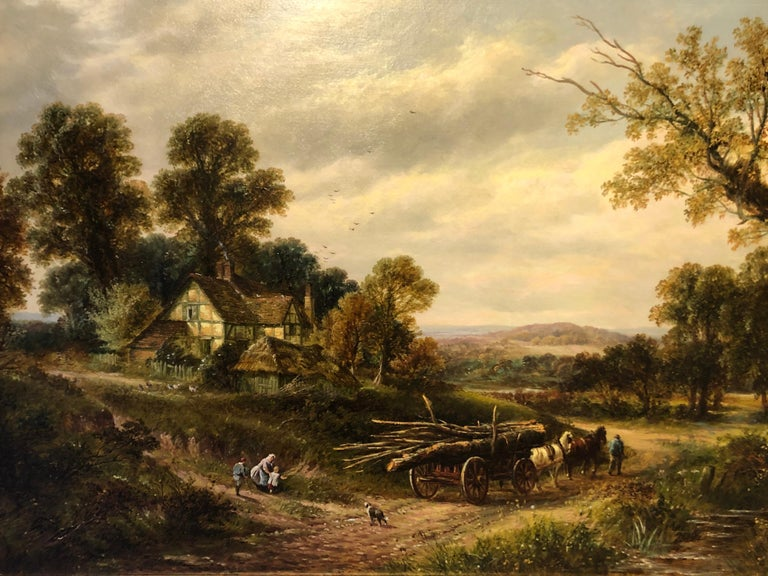 Oil Painting, Large Landscape by Thomas Thomas (British 1821-1900) 'View Near Holme Lacey Herefordshire'  Signed by the artist & Inscribed on the reverse, with old (Frost & Reed-Renowned London Dealer) Label. Original Canvas, housed in Gold leaf