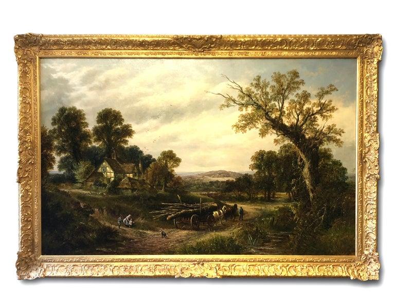 Thomas Thomas Landscape Painting - Oil Painting, Landscape by Thomas (British 1821-1892)