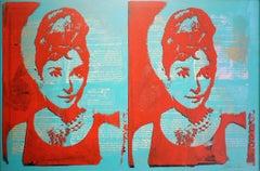 Audrey Hepburn - Thomas Van Housen Contemporary Pop Art Silkscreen Painting
