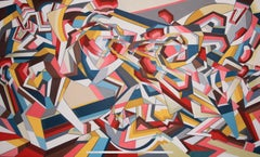 Brawl by British Contemporary Artist Thomas Dowdeswell Abstract Geometric Art