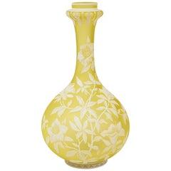 Thomas Webb & Sons Double Overlaid White Over Yellow Etched & Acid Washed Vase
