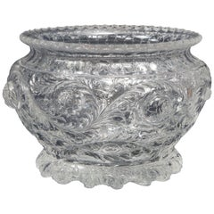 Thomas Webb & Sons Wheel Carved 'Rock-Crystal' Type Punch Bowl, George Woodall