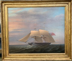 English 19th century Sloop of war frigate, two masted, 18 gun warship at sea
