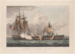 Capture of the La Vengeance, 1800. English Regency naval colour aquatint, 1816