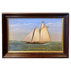 Thomas Willis Silk Embroidered Yacht Seascape, circa 1890