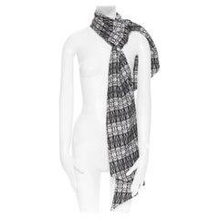 THOMAS WYLDE 100% silk black white skeleton skull print long scarf