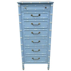 Thomasville Allegro Faux Bamboo 7 Drawer Blue Painted Tall Lingerie Chest